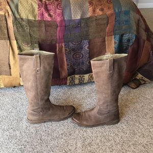 Frye Taupe Cecil X stitch pull on riding Boots 9.5